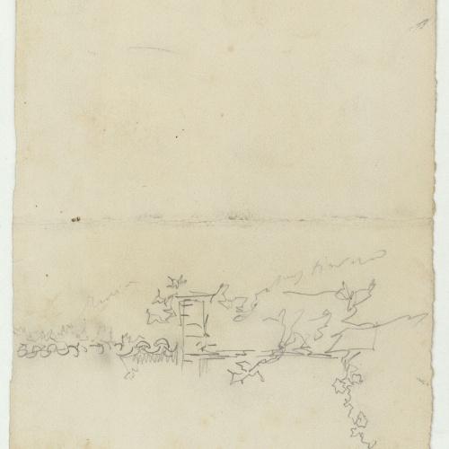 Marià Fortuny - Preliminary drawing of a wall - Circa 1863-1874