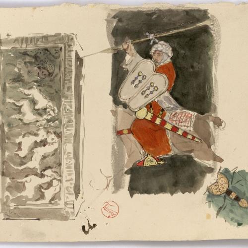 Marià Fortuny - Baix relleu i genet musulmà - Cap a 1870-1872