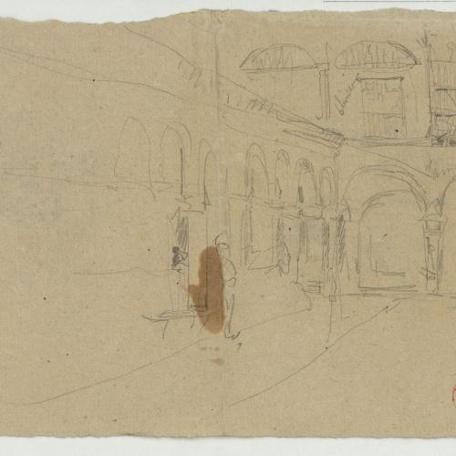 Marià Fortuny - Esbós d'una plaça porxada (anvers) / Esbós de figures (revers) - Cap a 1866-1872