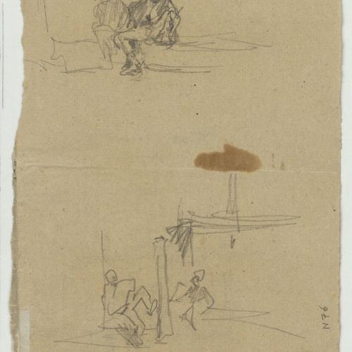 Marià Fortuny - Esbós d'una plaça porxada (anvers) / Esbós de figures (revers) - Cap a 1866-1872 [1]