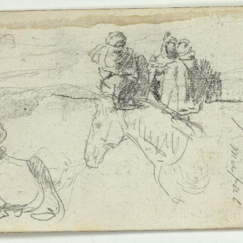 Marià Fortuny - Vaca, cap de cavall i marroquins (anvers) / Marroquins i ruc (revers) - Cap a 1860-1862