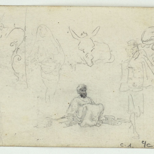 Marià Fortuny - Vaca, cap de cavall i marroquins (anvers) / Marroquins i ruc (revers) - Cap a 1860-1862 [1]