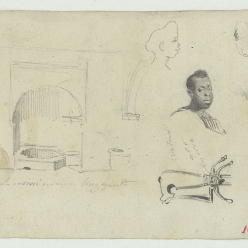 Marià Fortuny - Ablution area in a mosque, head of a black man and hilt of a sword - Circa 1860-1862
