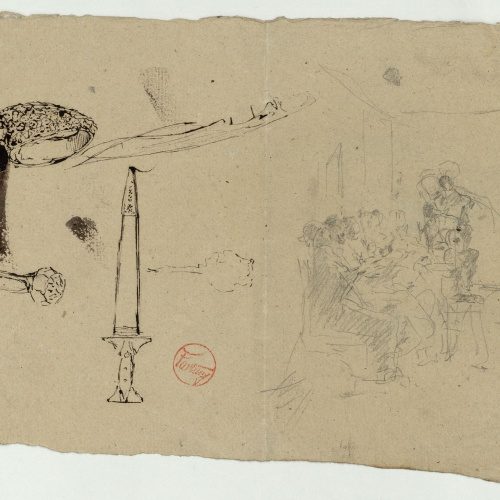 Marià Fortuny - Rings, sword and preliminary drawing of seated figures - Circa 1867-1872