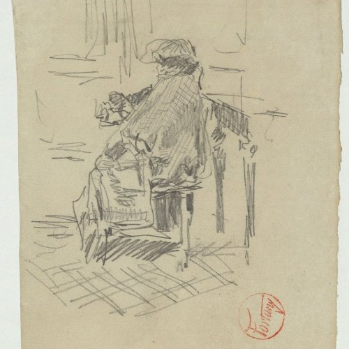 Marià Fortuny - Preliminary drawing of a seated female figure - Circa 1863-1870