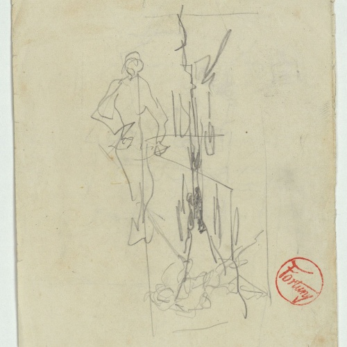 Marià Fortuny - Rough figure sketch - Circa 1863-1867