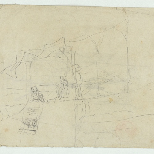 Marià Fortuny - Rough sketch of a loggia - Circa 1863-1867