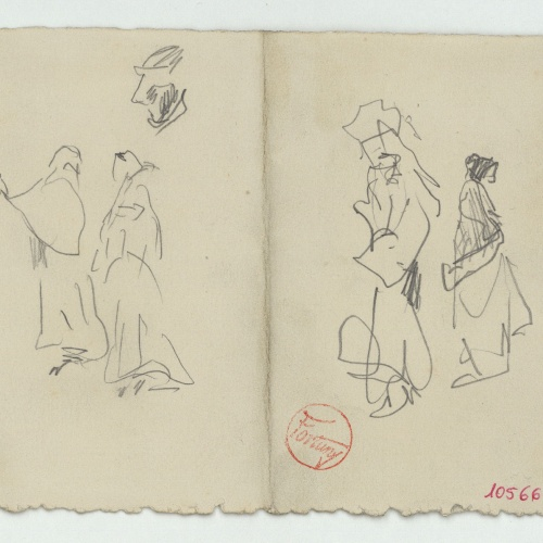 Marià Fortuny - Rough sketch of female figures  - Circa 1870-1872