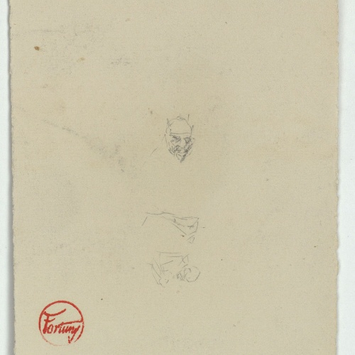 Marià Fortuny - Sketch of a Moroccan head and rough sketches - Circa 1860-1862