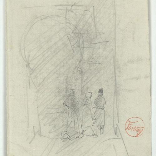 Marià Fortuny - Muslim-style door and figures - Circa 1871