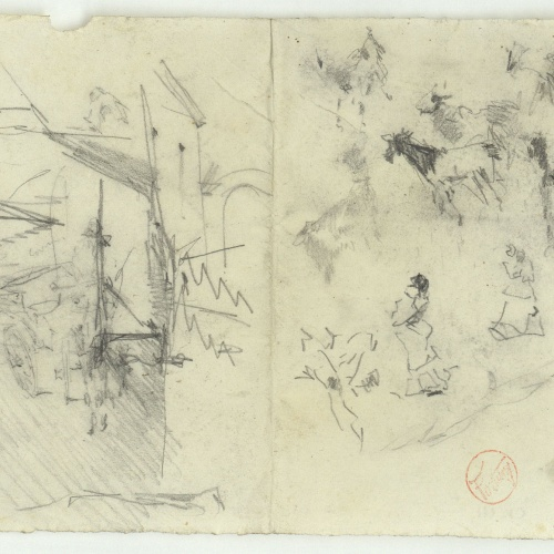 Marià Fortuny - Rough sketch of a street with a cart, female figures and animals - Circa 1874