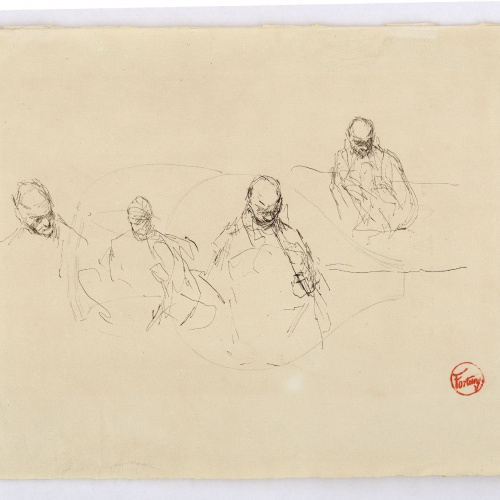 Marià Fortuny - Preliminary drawing of male figures - Circa 1867-1872