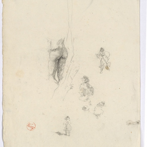 Marià Fortuny - Detail of male nude and preliminary drawing of figures - Circa 1870-1872