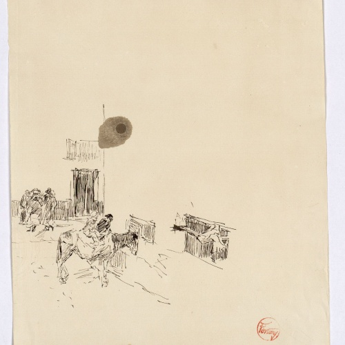 Marià Fortuny - Preliminary drawing of street with figures - Circa 1867-1872