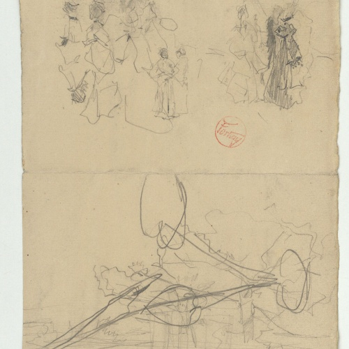 Marià Fortuny - Preliminary drawing of female figures and unidentifiable sketch - Circa 1870-1874
