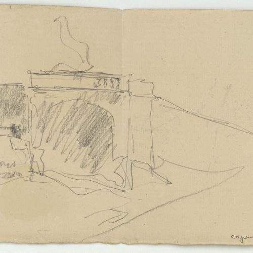 Marià Fortuny - Architectural rough sketch - Circa 1870-1874
