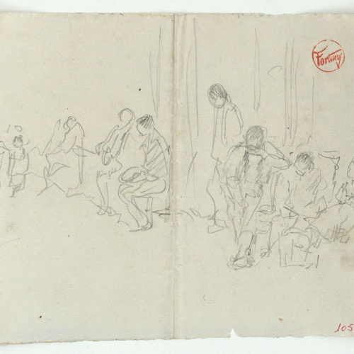 Marià Fortuny - Group of seated figures - Circa 1867-1872