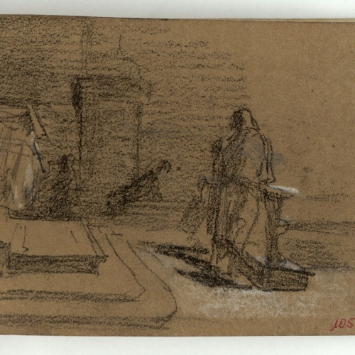 Marià Fortuny - Figure before a staircase - Circa 1866-1872