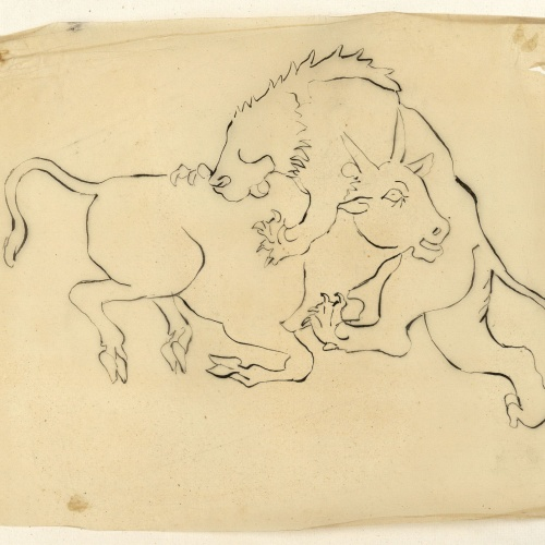Marià Fortuny - Tracing of a lion attacking a bull - Circa 1867-1872