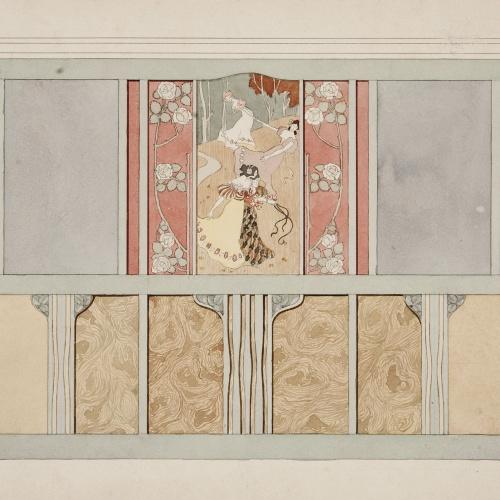 Gaspar Homar - Arrambador amb plafons de marqueteria per a la casa Lleó Morera de Barcelona - Cap a 1905
