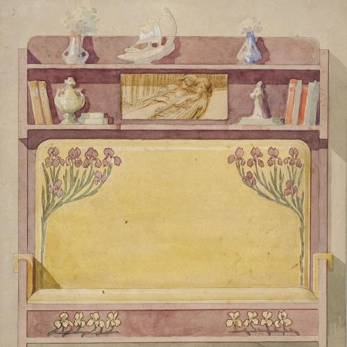 Gaspar Homar - Escó amb plafó de marqueteria - Cap a 1900-1905