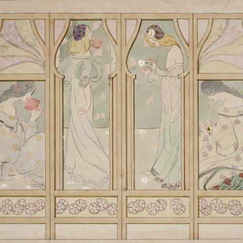 Gaspar Homar - Paravent amb plafons de marqueteria - Cap a 1900