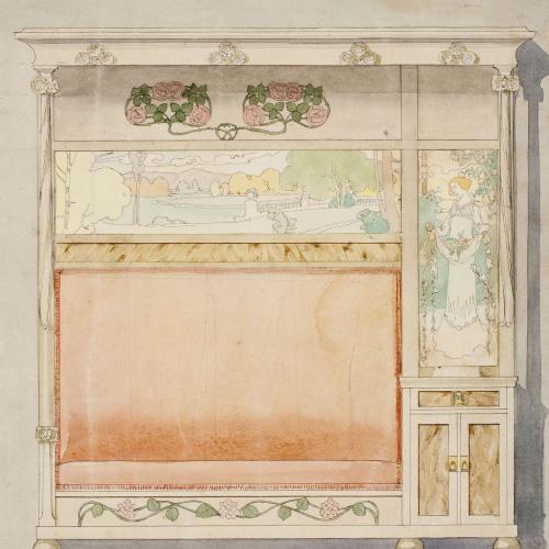 Gaspar Homar - Escó amb plafons de marqueteria - Cap a 1905