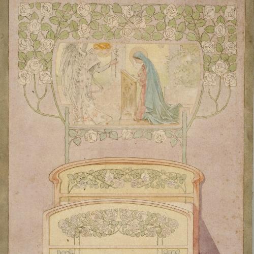 Gaspar Homar - Llit i cortinatge amb una Anunciació - Cap a 1900-1905