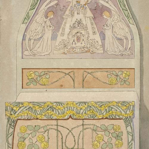 Gaspar Homar - Llit amb capçal amb la Mare de Déu de Montserrat i dos àngels - Cap a 1901-1905