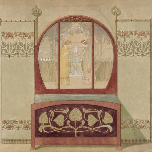 Gaspar Homar - Llit amb plafó de marqueteria - Cap a 1900