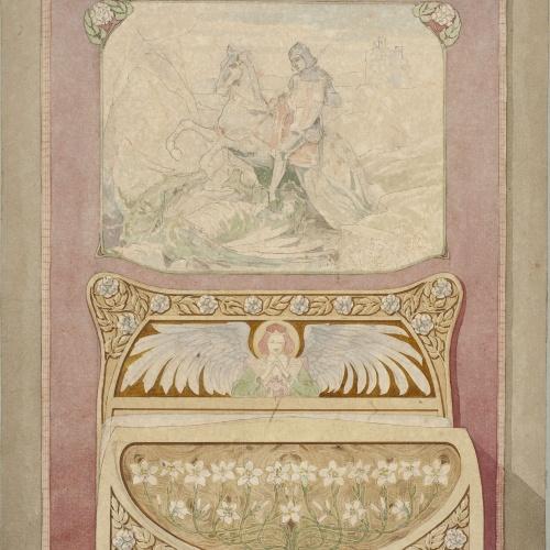 Gaspar Homar - Llit i tapís amb sant Jordi amb el drac - Cap a 1900-1905