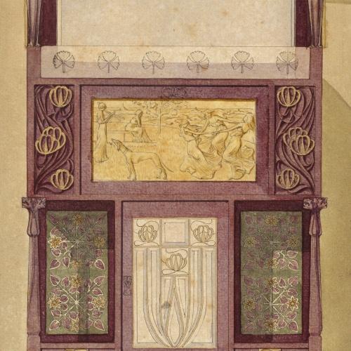 Gaspar Homar - Armari escriptori amb plafons de marqueteria i mirall - Cap a 1907-1910