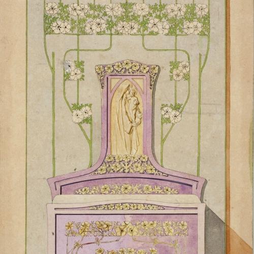 Gaspar Homar - Llit amb plafó amb la Mare de Déu i el Nen - Cap a 1900-1910