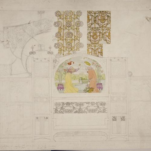 Gaspar Homar - Escó vitrina per al saló de la casa Lleó Morera de Barcelona - Cap a 1903-1905