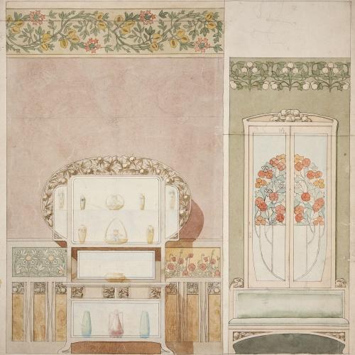 Gaspar Homar - Bufet vitrina i escó de la casa Navàs de Reus - Cap a 1905-1908