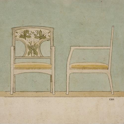 Gaspar Homar - Cadira de braços per a la casa Lleó Morera de Barcelona (vista frontal i de perfil) - Cap a 1905