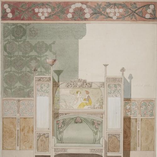 Gaspar Homar - Estudi per al saló de la casa Navàs de Reus - Cap a 1905