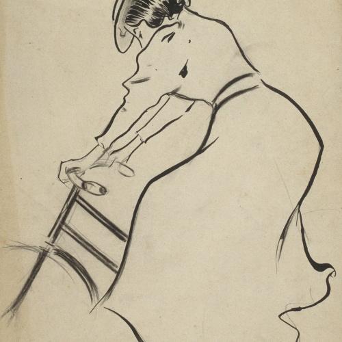 Ramon Casas - Woman Cyclist. Study for a poster - Circa 1899