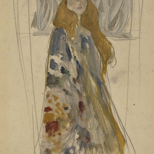 Antoni Serra - Figura femenina per a una placa de porcellana - Cap a 1904-1908