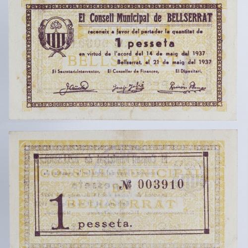 Consell Municipal de Bellserrat. Sant Pere de Torelló - 1 pesseta - 21.05.1937