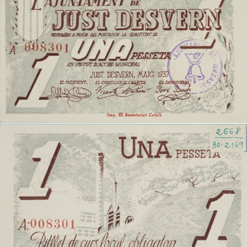 Ajuntament de Just Desvern. Sant Just Desvern - 1 peseta - May 1937