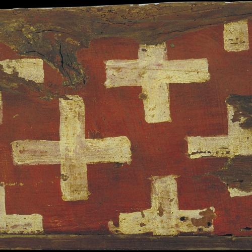 Anònim. Catalunya - Tauleta d'enteixinat amb creus, emblema dels Cruïlles - Primer quart del segle XIV