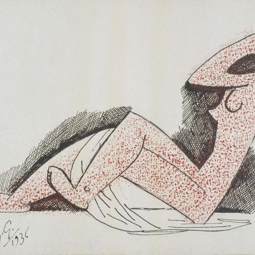 Juli González - Nu assegut de perfil (Nu assis de profil) - 1936