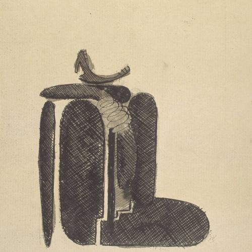 Juli González - Dona asseguda cridant núm. 2 (Femme assisse criant nº 2) (anvers) / Esbós d'un cap (revers) - 1939