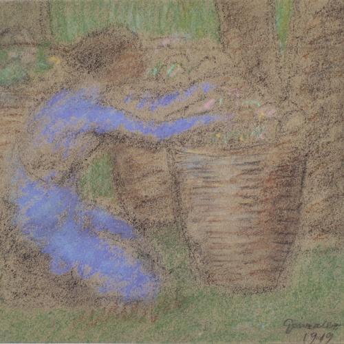 Juli González - Camperola en blau amb grans cistelles (Paysanne en bleu au grands paniers) - 1919