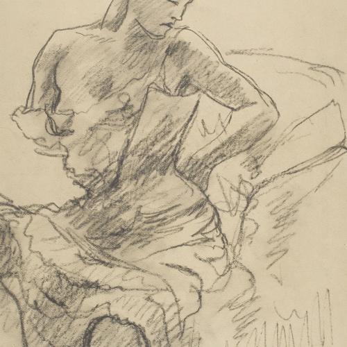 Juli González - Dona asseguda que es corda la cotilla (Femme assisse au corset) - Cap a 1906-1914