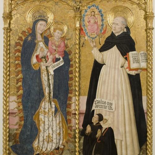 Pere Garcia de Benavarri - Mare de Déu Apocalíptica i sant Vicenç Ferrer amb dos donants - Cap a 1459