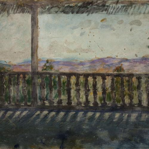Ricard Canals - Galeria porxada amb paisatge de fons - Cap a 1929