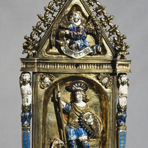 Juan de Orona - Portapau amb sant Jordi i un àngel - Segona meitat del segle XVI