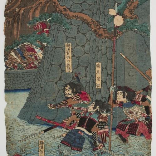 Yoshitoshi Tsukioka - Katsusuga Matayurô, Katsusuga Masakatsu i Orio Mosuke - Cap a 1853-1854